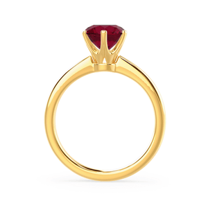 SERENITY - Chatham® Lab Grown Red Ruby 18k Yellow Gold Solitaire Engagement Ring Lily Arkwright