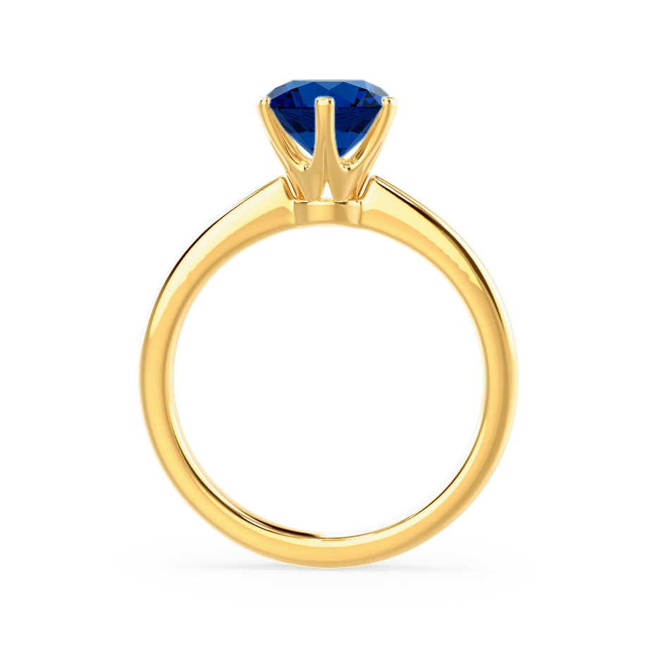 Serenity Chatham® Lab Grown Blue Sapphire 18k Yellow Gold Solitaire