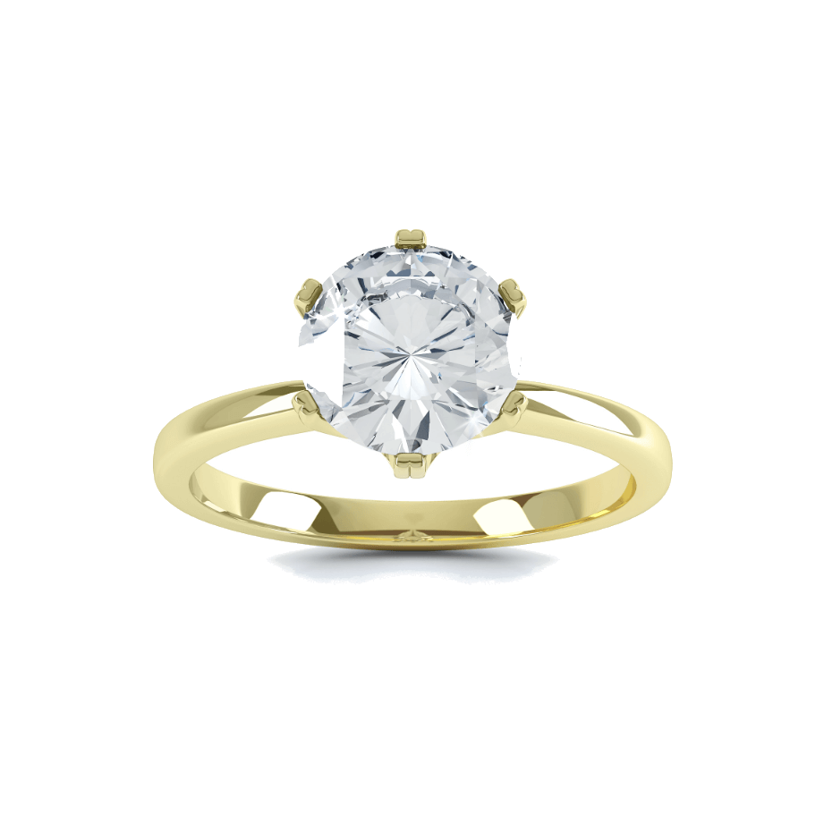 SERENITY - Round Moissanite 18k Yellow Gold Solitaire Ring Engagement Ring Lily Arkwright