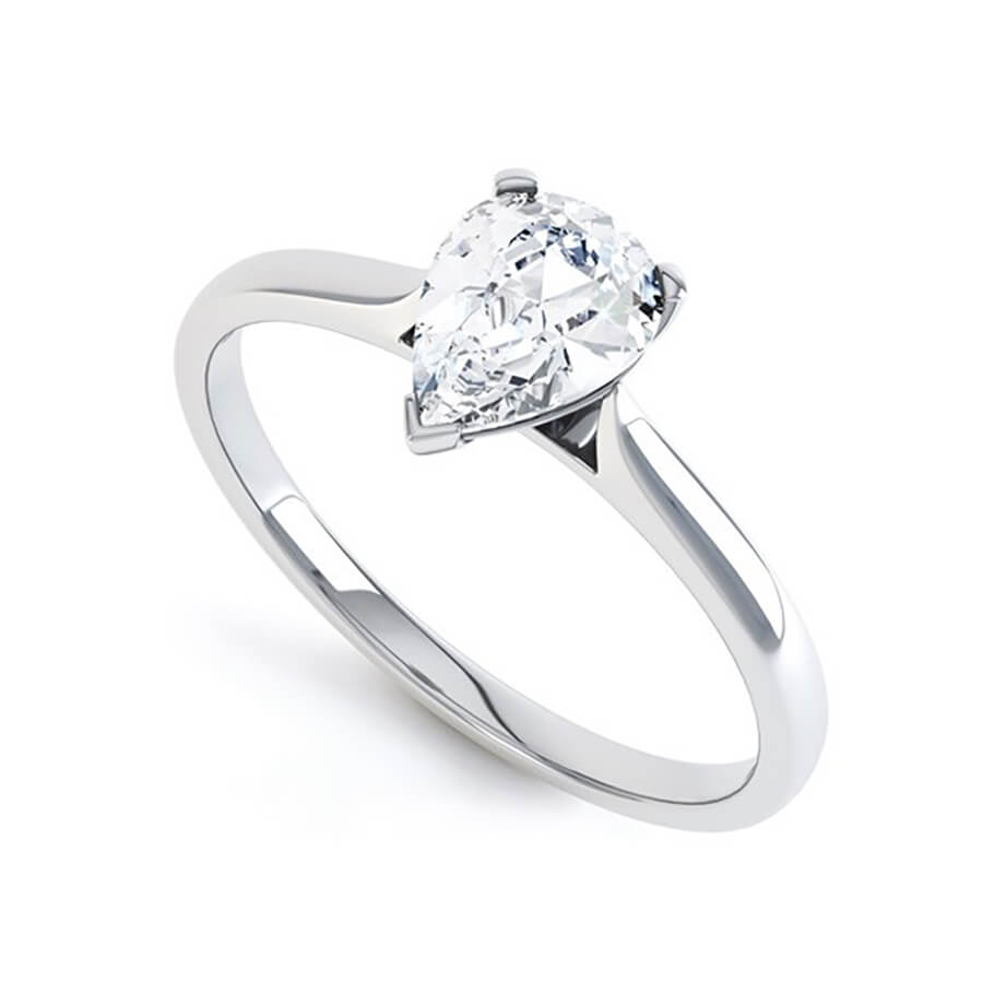 SLOANE - Pear Moissanite 18k Rose & White Gold Solitaire Ring Engagement Ring Lily Arkwright