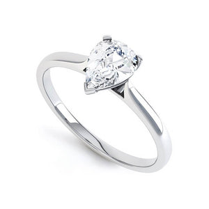 SLOANE - Charles & Colvard Moissanite Platinum Pear Cut Solitaire Ring