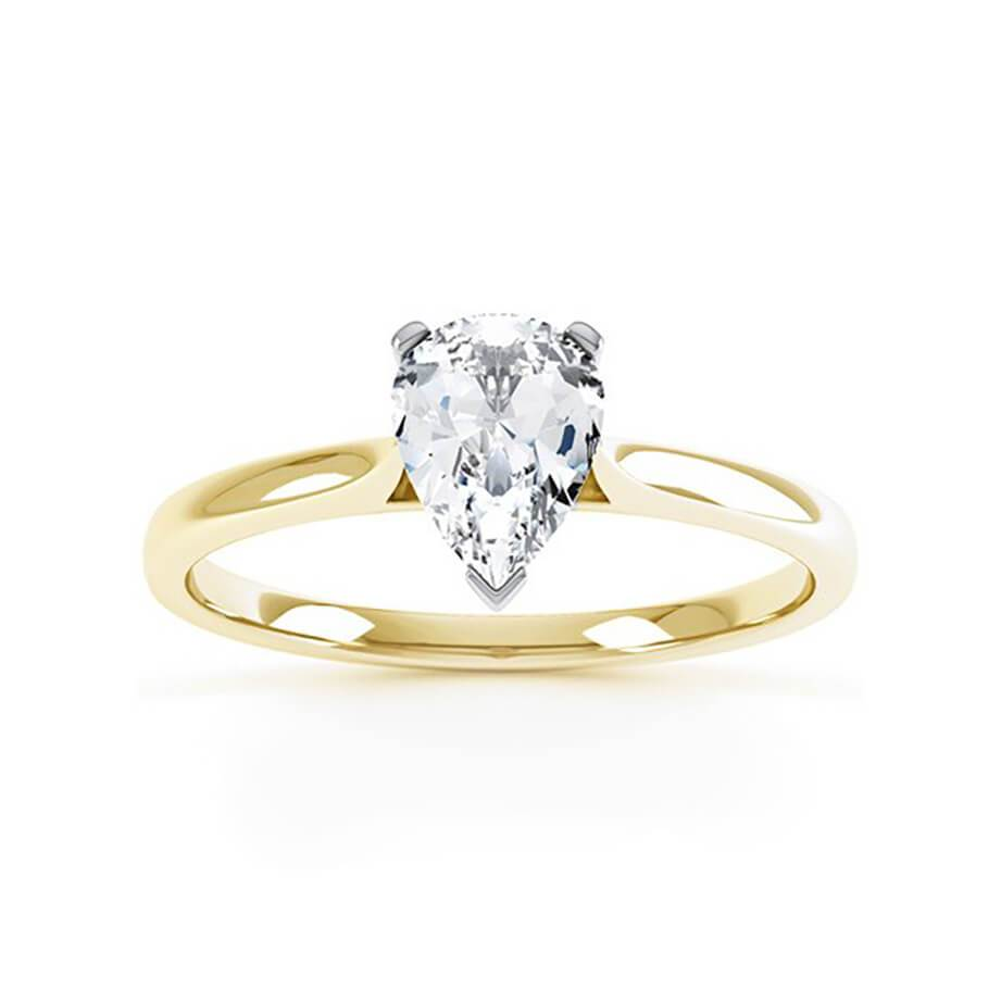 Sloane Charles & Colvard Moissanite 18k Two Tone Gold Pear Cut Solitaire