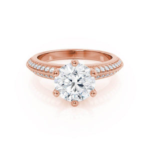 VICTORIA - Round Moissanite & Diamond 18k Rose Gold Shoulder Set Ring Engagement Ring Lily Arkwright
