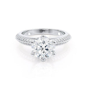 VICTORIA - Round Moissanite & Diamond 950 Platinum Shoulder Set Ring Engagement Ring Lily Arkwright