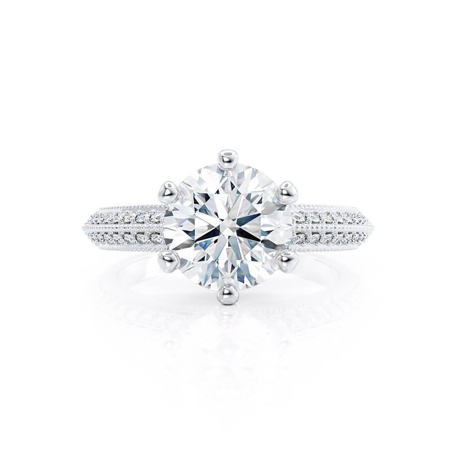 VICTORIA - Round Moissanite & Diamond 18k White Gold Shoulder Set Ring Engagement Ring Lily Arkwright