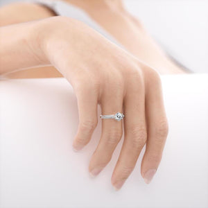 VICTORIA - Moissanite 18k White Gold Shoulder Set Ring