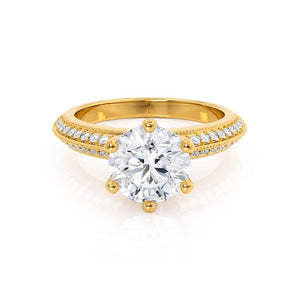 VICTORIA - Round Moissanite & Diamond 18k Yellow Gold Shoulder Set Ring Engagement Ring Lily Arkwright