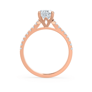 VIOLA - Oval Moissanite & Diamond 18k Rose Gold Shoulder Set Ring Engagement Ring Lily Arkwright