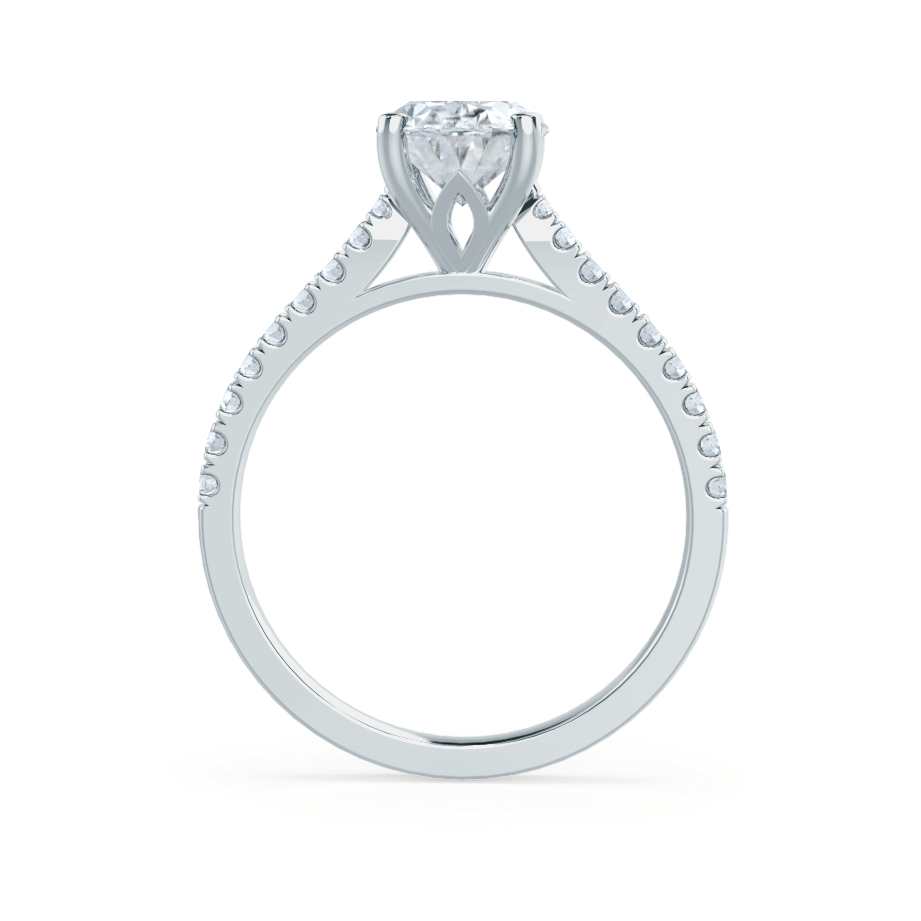 VIOLA - Oval Moissanite & Diamond Platinum Shoulder Set Ring Engagement Ring Lily Arkwright