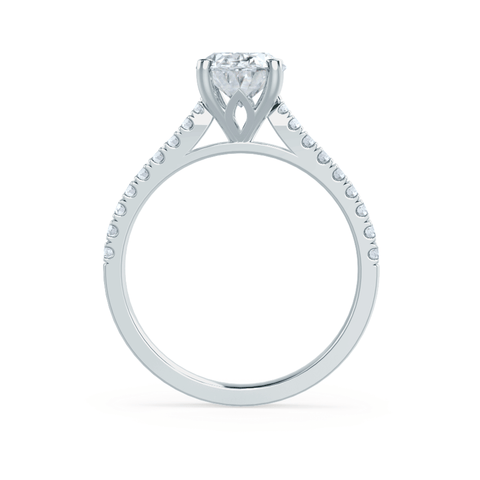 VIOLA - Oval Moissanite & Diamond 18k White Gold Shoulder Set Ring Engagement Ring Lily Arkwright