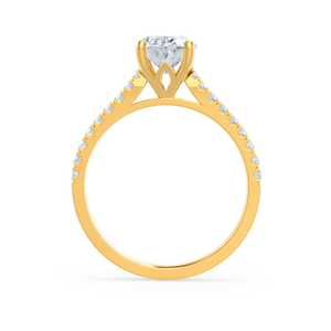 Viola Charles & Colvard Moissanite & Diamond 18k Yellow Gold Shoulder Set Ring
