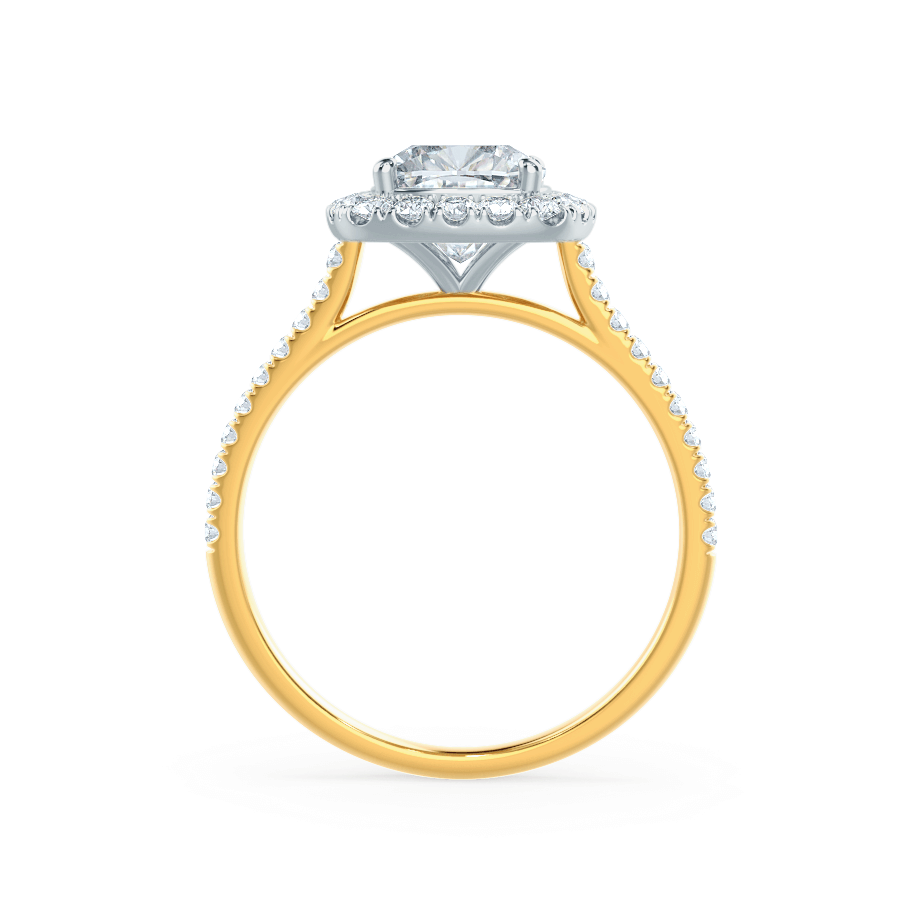 VIOLETTE - Petite Halo Charles & Colvard Moissanite & Diamond 18k Two Tone Yellow Gold Ring