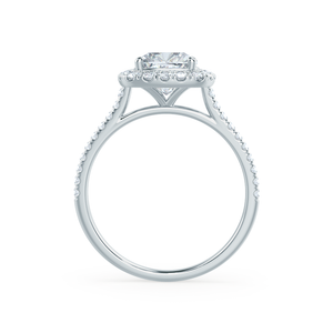 VIOLETTE - Petite Halo Charles & Colvard Moissanite & Diamond Platinum Ring