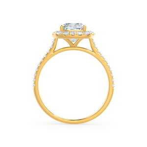 Lily Arkwright Engagement Ring VIOLETTE - Petite Halo Charles & Colvard Moissanite & Diamond 18k Yellow Gold Ring