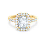 Lily Arkwright Engagement Ring ESME - Charles & Colvard Moissanite & Diamond Radiant 18k Yellow Gold Halo