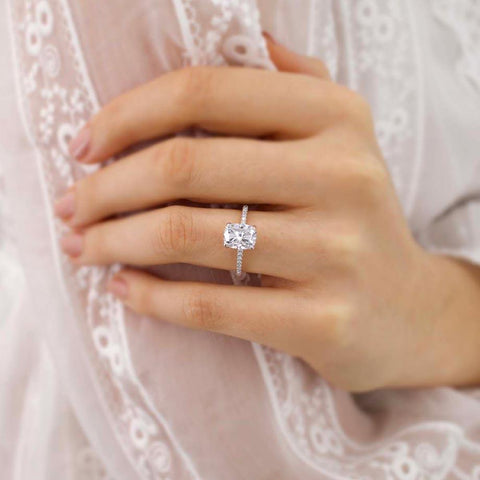 MACY -  Elongated Cushion Moissanite & Diamond 18k White Gold Petite Pavé Shoulder Set Ring Engagement Ring Lily Arkwright