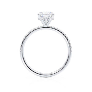 LIVELY - Cushion Moissanite & Diamond Platinum Hidden Halo Micro Pavé Shoulder Set Engagement Ring Lily Arkwright