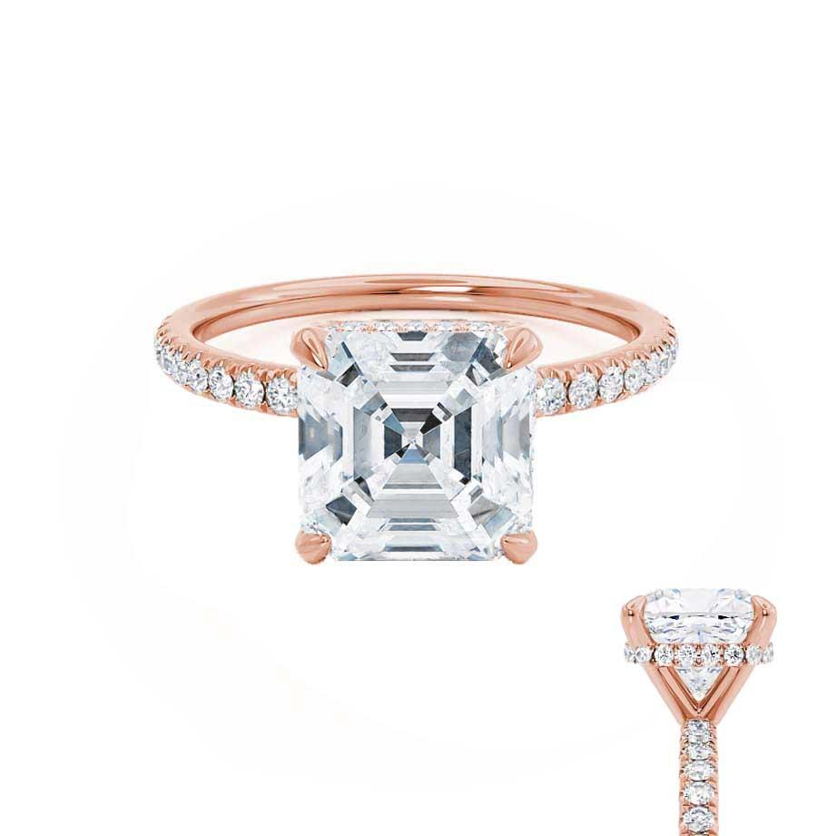 LIVELY - Asscher Moissanite & Diamond 18k Rose Gold Hidden Halo Micro Pavé Shoulder Set Engagement Ring Lily Arkwright