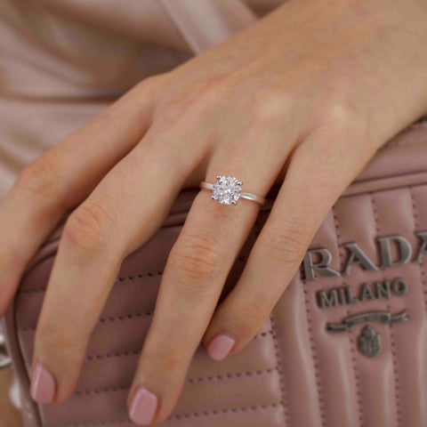 LOTTIE - Round Moissanite 18K White Gold 4 Prong Tulip Solitaire Ring Engagement Ring Lily Arkwright