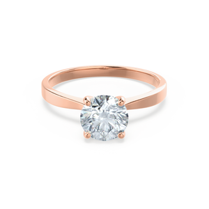 LOTTIE - 4 Prong Brilliant Round Moissanite 18K Rose Gold Tulip Solitaire