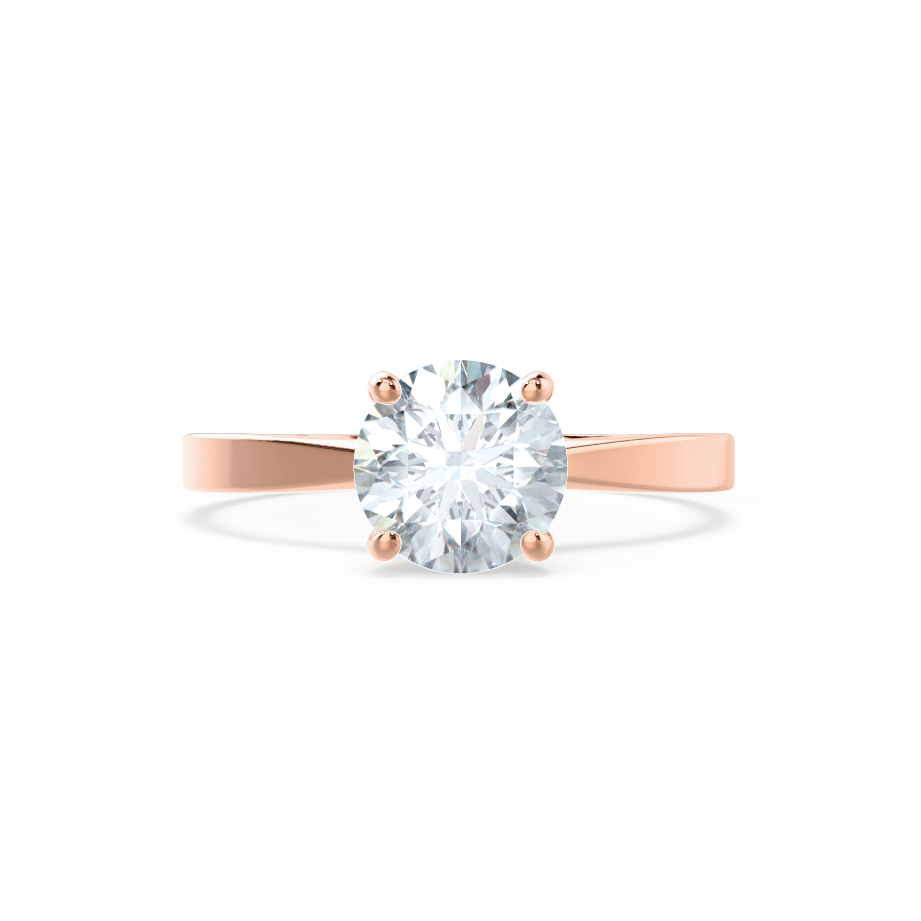 LOTTIE - Round Moissanite 18K Rose Gold 4 Prong Tulip Solitaire Ring Engagement Ring Lily Arkwright
