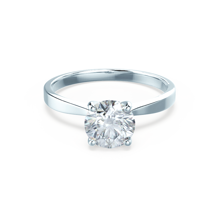 Lily Arkwright Engagement Ring LOTTIE - 4 Prong Brilliant Round Moissanite 18K White Gold Tulip Solitaire