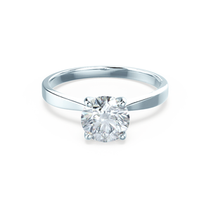 LOTTIE - 4 Prong Brilliant Round Moissanite Platinum Gold Tulip Solitaire