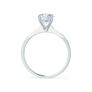 LOTTIE - 4 Prong Brilliant Round Moissanite 18K White Gold Tulip Solitaire