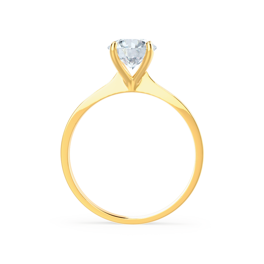 LOTTIE - 4 Prong Brilliant Round Moissanite 18K Yellow Gold Tulip Solitaire