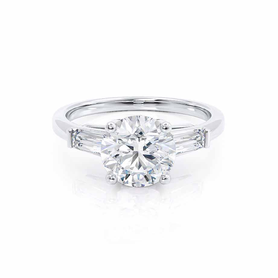 LOVETTA - Round & Baguette Moissanite 18k White Gold Trilogy Engagement Ring Lily Arkwright