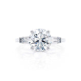 LOVETTA - Round & Baguette Forever One Moissanite 18k White Gold Trilogy