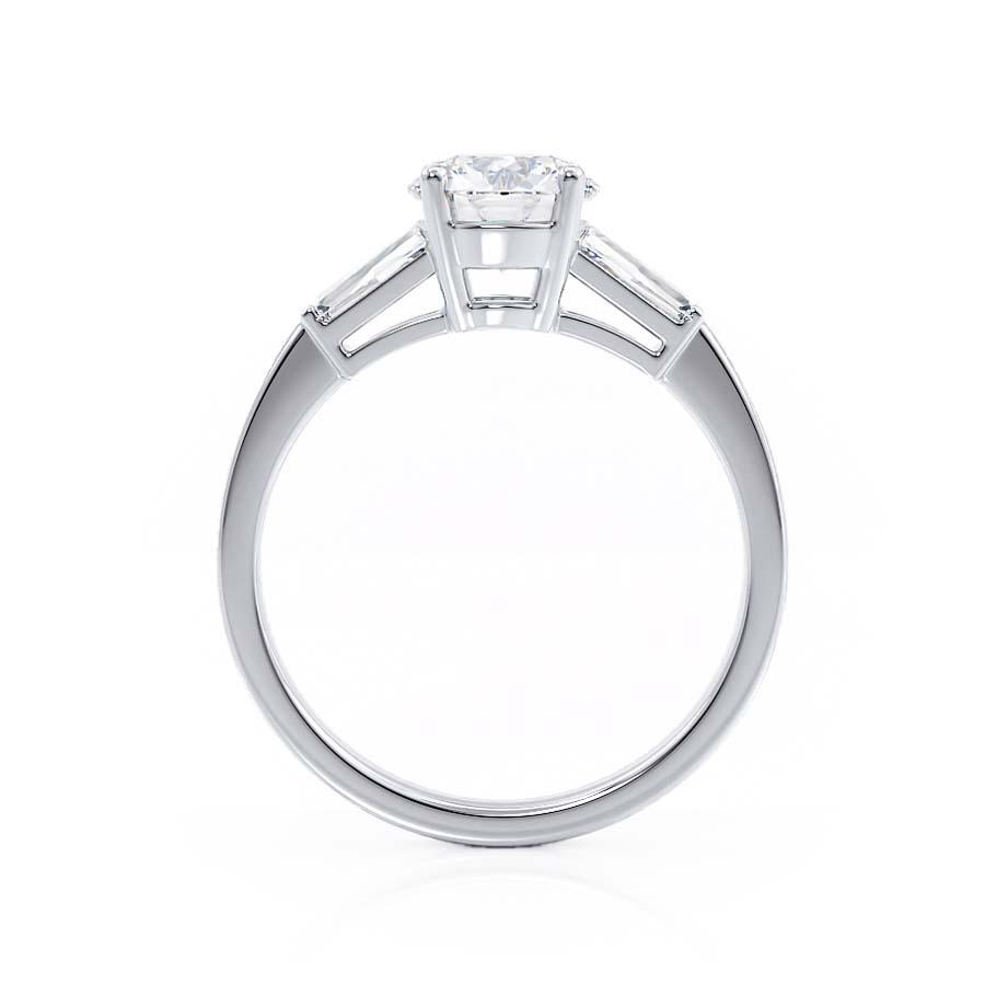 LOVETTA - Round & Baguette Cut Moissanite 18k White Gold Trilogy