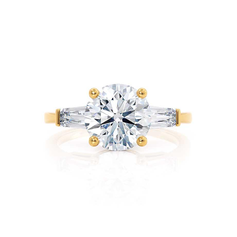 LOVETTA - Round & Baguette Moissanite 18k Yellow Gold Trilogy Engagement Ring Lily Arkwright