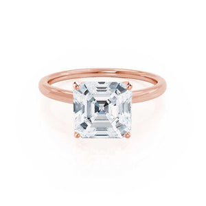 LULU - Asscher Moissanite 18k Rose Gold Petite Solitaire Ring Engagement Ring Lily Arkwright