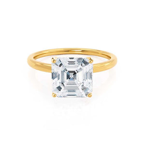 LULU - Asscher Moissanite 18k Yellow Gold Petite Solitaire Ring Engagement Ring Lily Arkwright