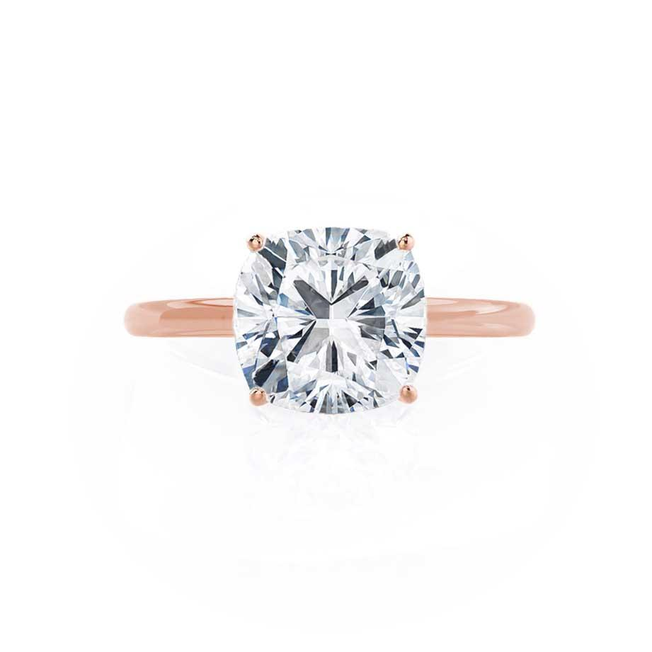 LULU - Cushion Moissanite Platinum & 18k Rose Gold Petite Solitaire Ring Engagement Ring Lily Arkwright