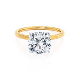 LULU - Cushion Moissanite Platinum & 18k Yellow Gold Petite Solitaire Ring Engagement Ring Lily Arkwright