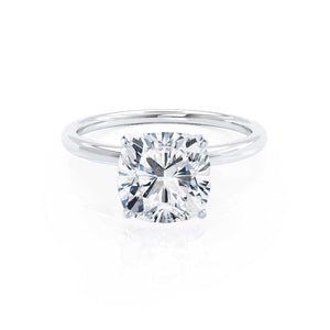 LULU - Cushion Moissanite 950 Platinum Petite Solitaire Ring Engagement Ring Lily Arkwright