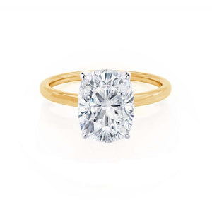 LULU - Elongated Cushion Moissanite 18k Two Tone Yellow Gold Petite Solitaire Ring Engagement Ring Lily Arkwright