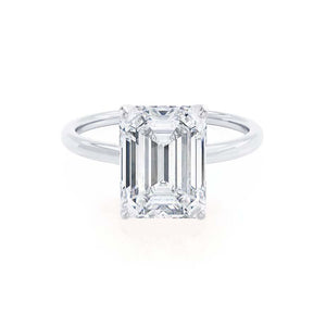 LULU - Emerald Moissanite 18k White Gold Petite Solitaire Ring Engagement Ring Lily Arkwright
