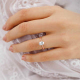 LULU - Oval Moissanite 18k Rose Gold Petite Solitaire Engagement Ring Lily Arkwright