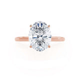 LULU - Oval Moissanite 18k Rose Gold Petite Solitaire Ring Engagement Ring Lily Arkwright