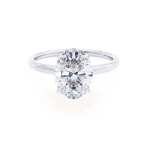 LULU - Oval Moissanite 18k White Gold Petite Solitaire Ring Engagement Ring Lily Arkwright