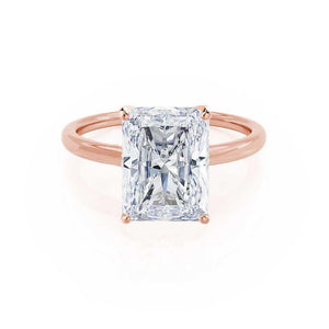 LULU - Radiant Moissanite 18k Rose Petite Solitaire Engagement Ring Lily Arkwright