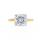 LULU - Princess Moissanite 18k Two Tone yellow Gold Petite Solitaire Ring Engagement Ring Lily Arkwright