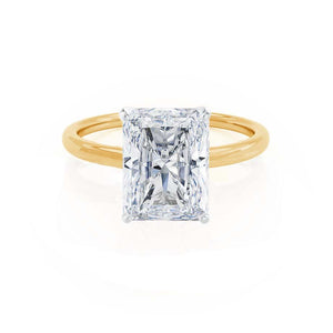 LULU - Radiant Moissanite 18k Two Tone Yellow Gold Petite Solitaire Ring Engagement Ring Lily Arkwright