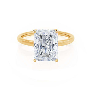 LULU - Radiant Moissanite 18k Yellow Gold Petite Solitaire Ring Engagement Ring Lily Arkwright