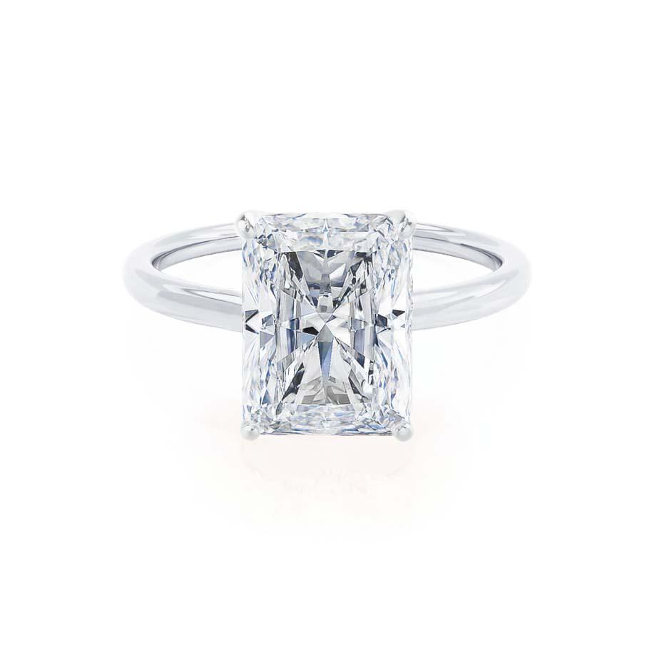 LULU - Radiant Moissanite 18k White Gold Petite Solitaire Ring Engagement Ring Lily Arkwright