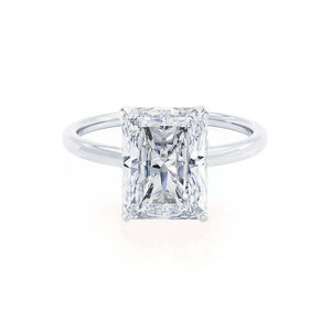 LULU - Radiant Moissanite 950 Platinum Petite Solitaire Ring Engagement Ring Lily Arkwright