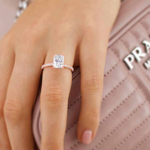 MACY - Radiant Moissanite & Diamond 18k Rose Gold Petite Pavé Ring Engagement Ring Lily Arkwright